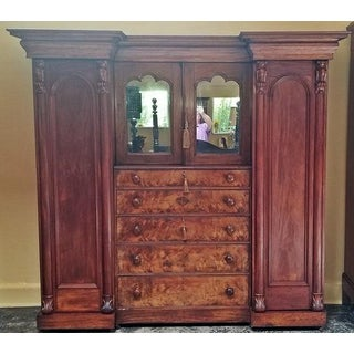 Early 19c British Mahogany Gothic Revival Wardrobe