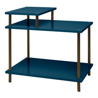 Veere Grenney Collection Addison Bedside Table in Indigo Blue For Sale