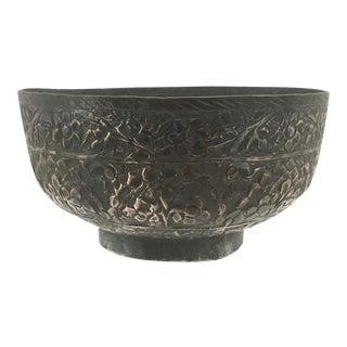 Antique Hand Embelished Copper Bowl For Sale