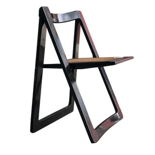1960's Italian Aldo Jacobsen Black Lacquer and Caning Trieste Folding Chair