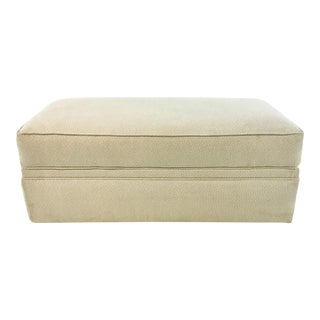 Transitional Beige and Cream Upholstered Ottoman/Bench on Casters For Sale