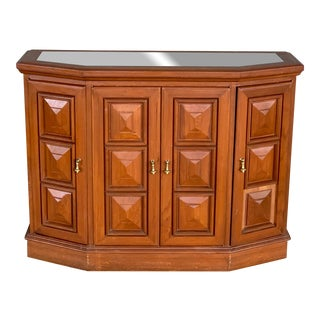 Vintage Marble Topped Demilune Cabinet For Sale