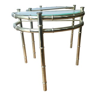 1970s Hollywood Regency Faux Bamboo Brass Small Demilune Tables - a Pair For Sale