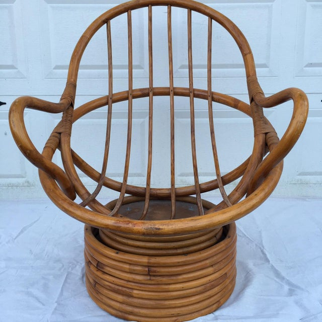 Vintage Bamboo Cocoon Swivel Chair For Sale - Image 4 of 8