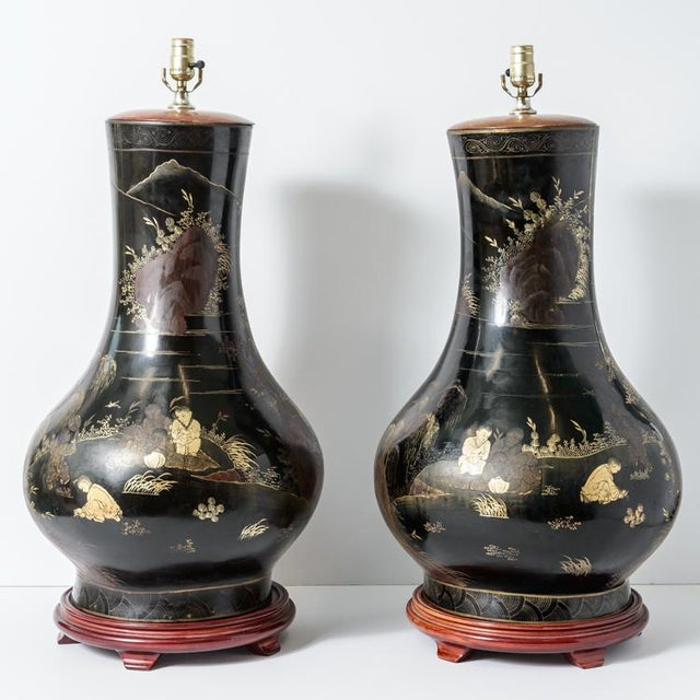 Pair of Antique Huge Chinoiserie Lacquer Urn Lamps C.1870-1890 For Sale - Image 12 of 12