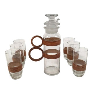 Rattan and Glass Highball Cocktail or Iced Tea Pitcher and 6 Glasses For Sale