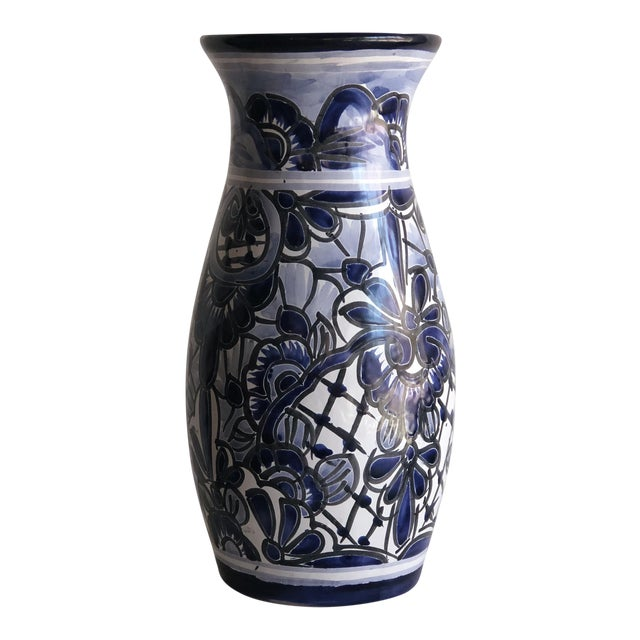 Hand-Painted Mexican Blue & White Vase For Sale