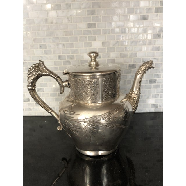 Victorian Aurora Silver Plate Teapot For Sale - Image 13 of 13