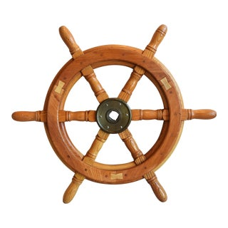 Golden Oak Nautical Maritime Ship's Steering Wheel For Sale