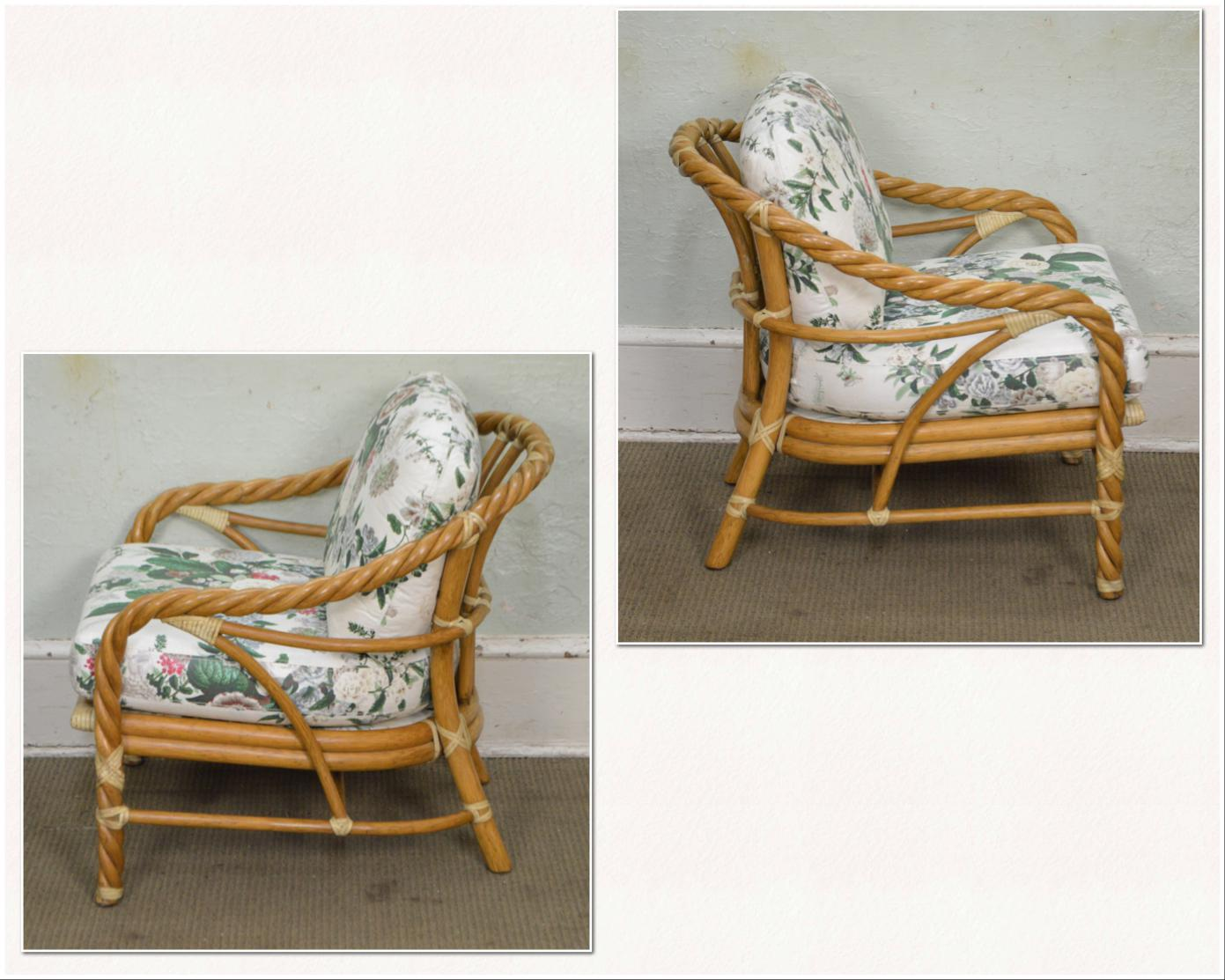 Traditional McGuire Of San Francisco Twisted Rattan Lounge Chair For Sale    Image 3 Of 13