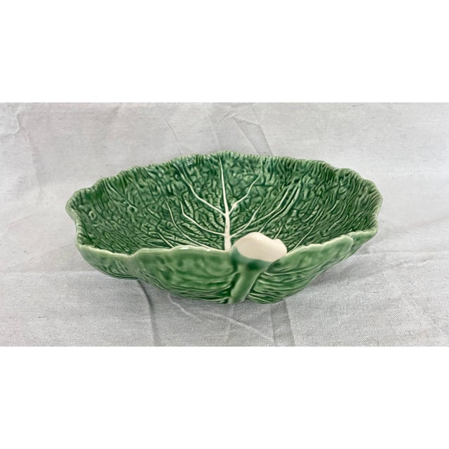 Vintage Green Bordallo Pinheiro Cabbage Leaf Bowl For Sale In Tampa - Image 6 of 10