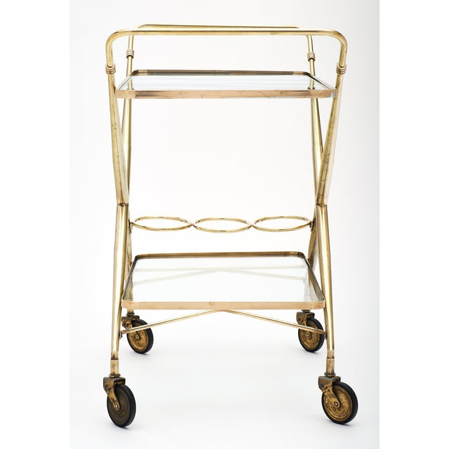 Gold Vintage French Brass Bar Cart For Sale - Image 8 of 11