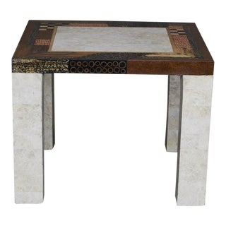 "1990s Contemporary Tessellated Stone ""Collage"" Square Side Table For Sale"