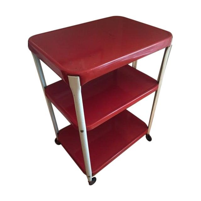 Vintage Red Metal Kitchen Cart - Image 1 of 4