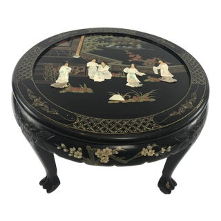 Chinese Black Lacquered Mother of Pearl Inlaid Claw Foot Tea Table