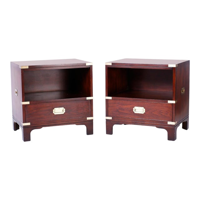 Midcentury Campaign Style Nightstands - A Pair For Sale