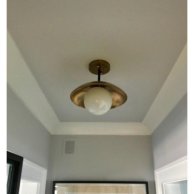 Avantgarden Sasco Brass and Glass Globe Semi-Flush Mount Pendant Light For Sale - Image 4 of 9