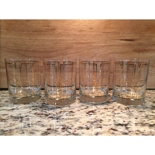 Georges Briard Gold Windowpane Plaid Bar Glasses - Set of 4 - Image 2 of 3