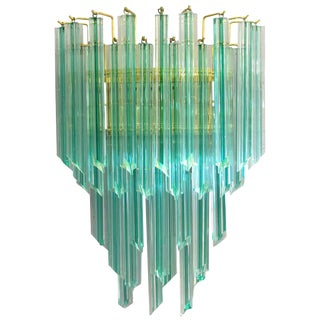 Venini Aquamarine Murano Glass Quadriedri Sconce For Sale