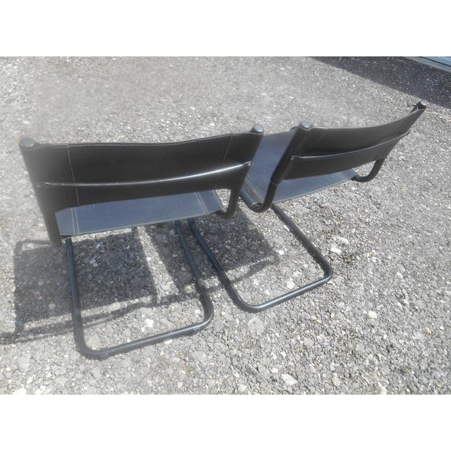 1980s Vintage Mid-Century Modern Black Leather Sling Dining Chairs - Set of 4 For Sale - Image 5 of 8