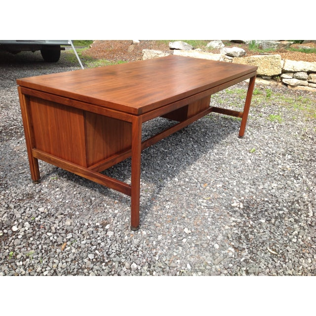 Jens Risom Walnut Executive Desk - Image 7 of 10