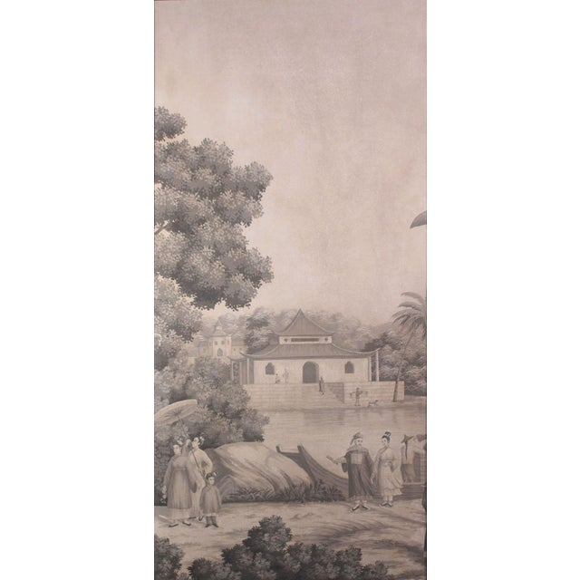 Large Scale Triptych of Idyllic Scenes of Ancient China, Paintings in Brunaille, Jardins en Fleur Showroom Samples For Sale - Image 4 of 9