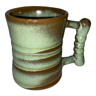 Vintage Mid 20th Century Frankoma Prairie Green Coffee Cup With Handle For Sale