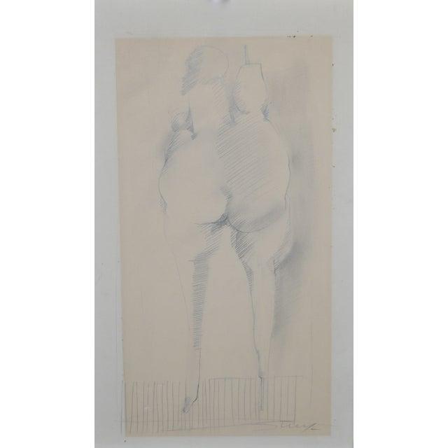 "Jan Stussy (1921–1990). Original graphite on [aper Nude Study c.1960's. Dimensions 11 3/4"" x 19"". Comara Gallery, Los..."