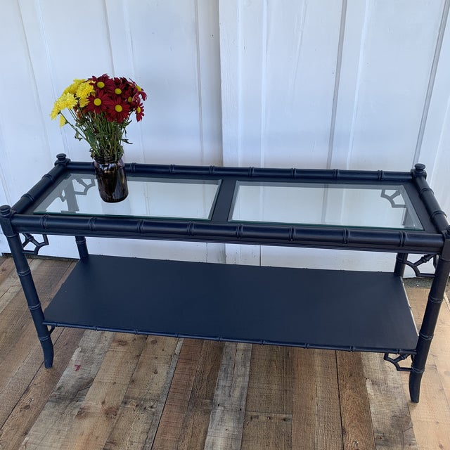 Thomasville Allegro vintage bamboo console table. Refinished in navy blue. I love the airy nature of this table, with the...