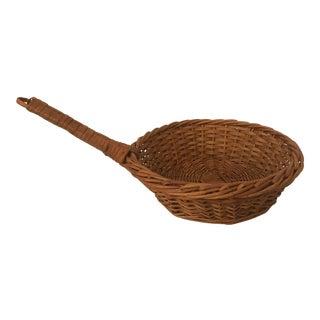Vintage Wicker Handled Basket For Sale