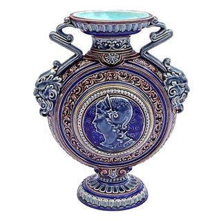 Antique French Sarrequemines Majolica Urn Vase