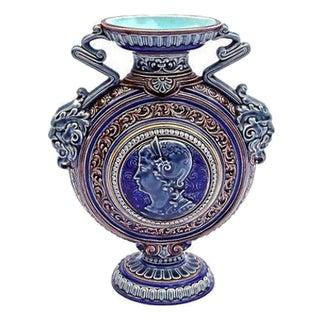 Antique French Sarrequemines Majolica Urn Vase For Sale