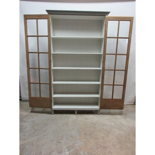 Gray Gustavian Two Door Glass Cabinet Preview