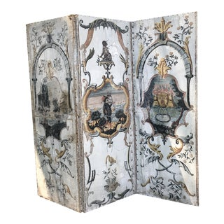 18th Century French Hand Painted Canvas Three Panel Screen For Sale