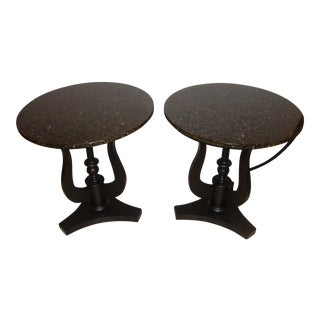 Art Deco Ebony Based End Tables - A Pair For Sale