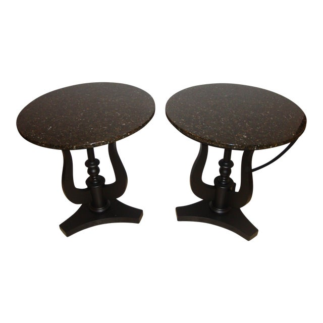 Art Deco Ebony Based End Tables - A Pair - Image 1 of 9