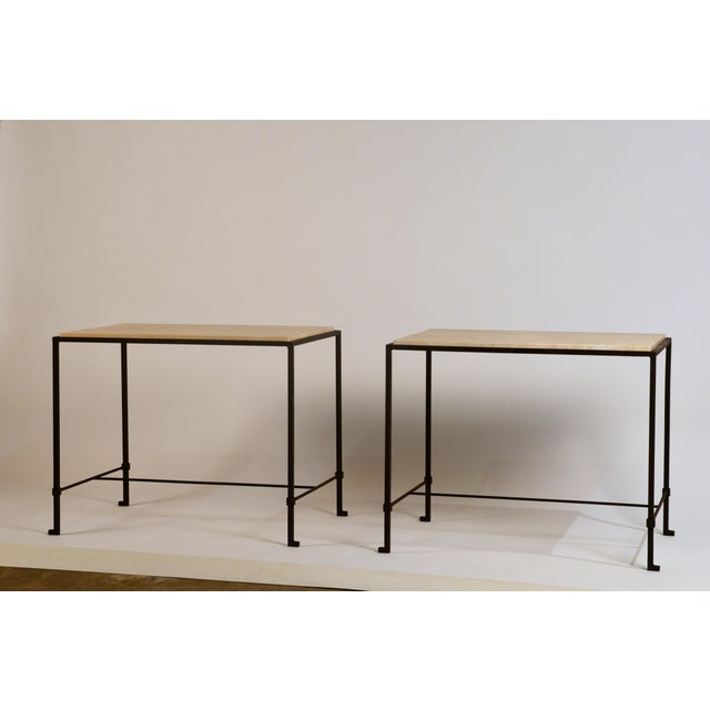 White 'Diagramme' Wrought Iron and Travertine Side Tables by Design Frères - a Pair For Sale - Image 8 of 9