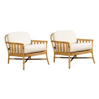 Decorative Pair of Vintage Rattan Lounge Chairs by Ficks Reed For Sale