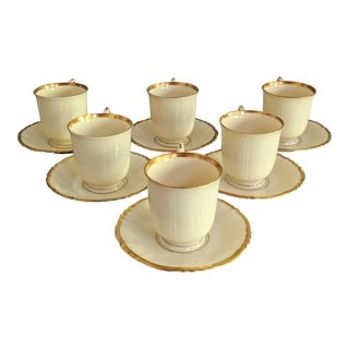 1950s Syracuse China Old Ivory Demitasse Cup & Saucer - Set of 16 For Sale