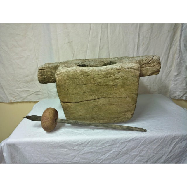 Antique Relic and Artifact Ceylonese Mortar and Stone Pestle For Sale - Image 13 of 13
