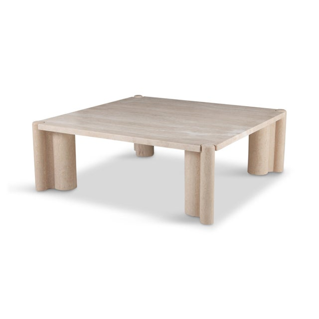 Italian Gae Aulenti Jumbo Travertine Square Coffee Table For Sale - Image 3 of 9