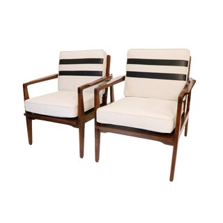 Mid Century Danish Walnut Chairs- A Pair For Sale