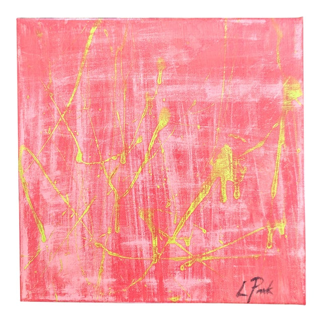 Original Abstract Watermelon Pink and Lime Green Splatter Painting For Sale