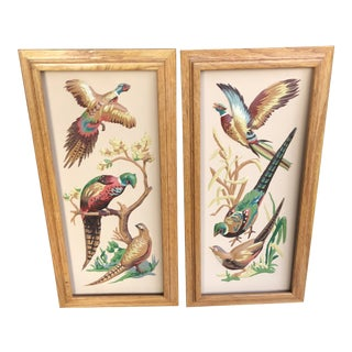 Vintage Mid-Century Pheasants Textile Art - A Pair For Sale