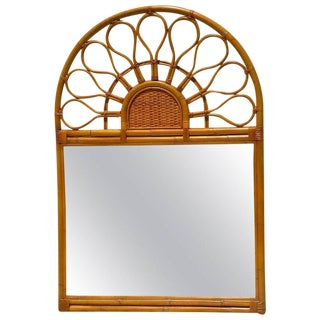 Large 1970s Bamboo Mirror For Sale