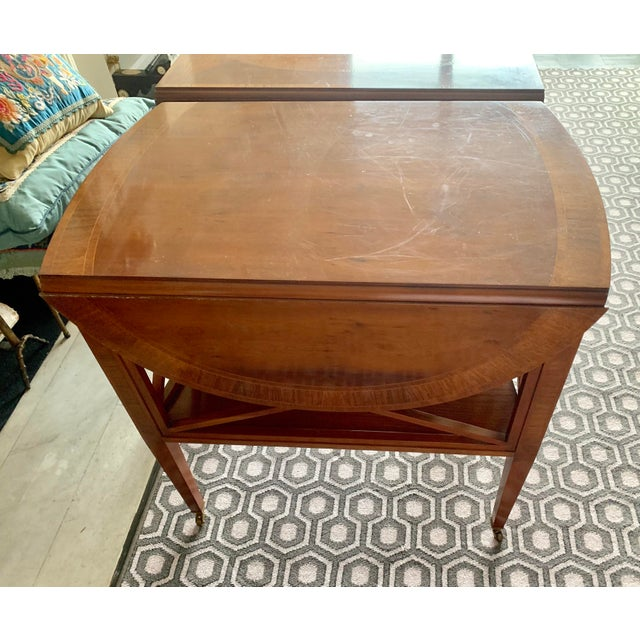 Pair of Federal Style Drop Leaf Side Tables For Sale - Image 10 of 12