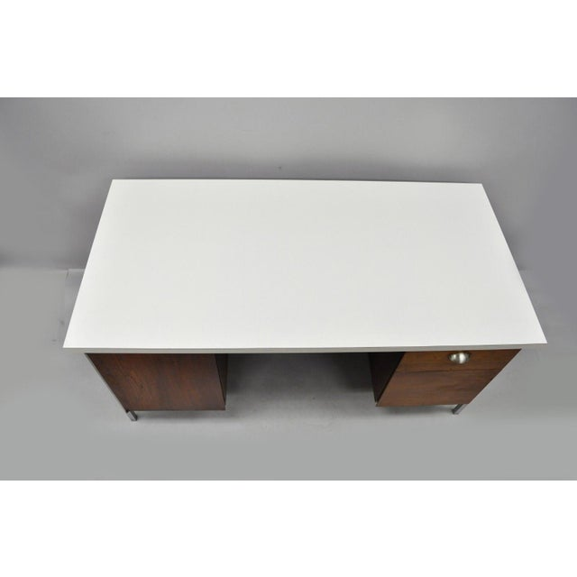 Florence Knoll Mid Century Modern Florence Knoll Walnut Executive Desk For Sale - Image 4 of 11