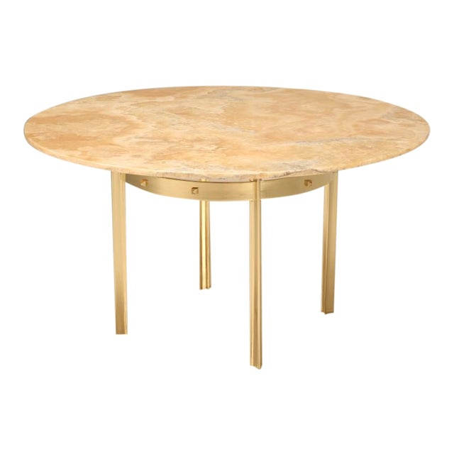 Custom Made Modern Brass & Onyx Dining Table For Sale