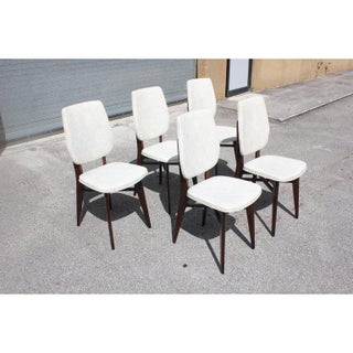 1940s Vintage French Art Deco Solid Mahogany Dining Chairs- Set of 5 Preview