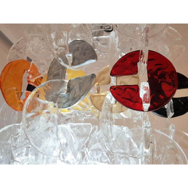 Mid Century Modern Mazzega Chrome & Murano Glass Chandelier For Sale - Image 10 of 12
